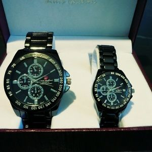 His&Hers Matching Luis Cardini Quartz MOVT Watches